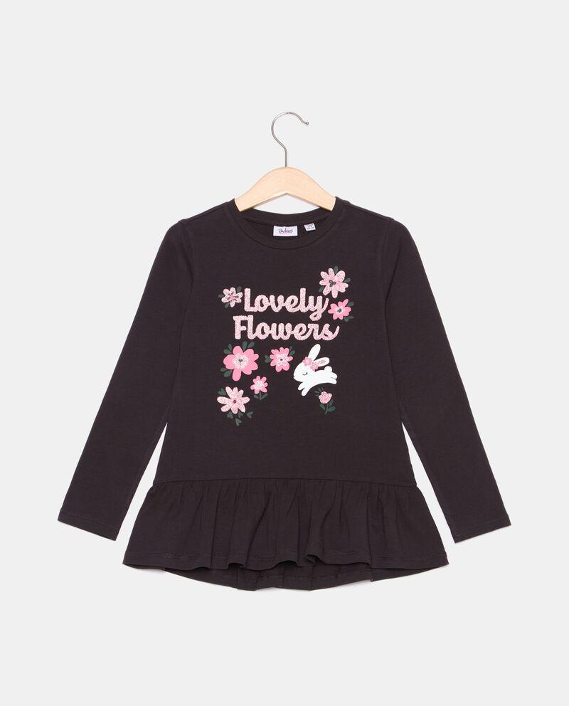 T-shirt di cotone organico con balza bambina cover