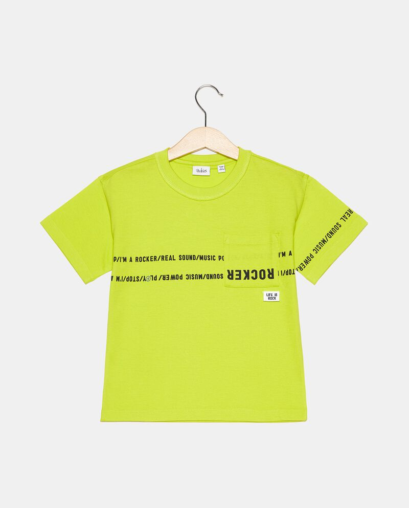 T-shirt in puro cotone girocollo con taschino bambino