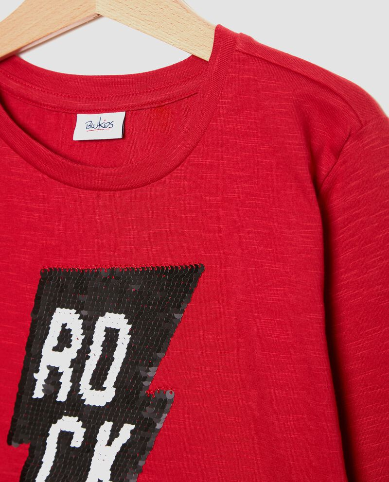 T-shirt effetto mélange con paillettes bambino