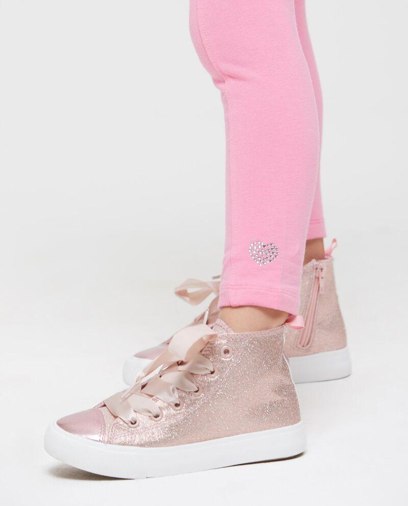 Leggings tinta unita con cuori glitter