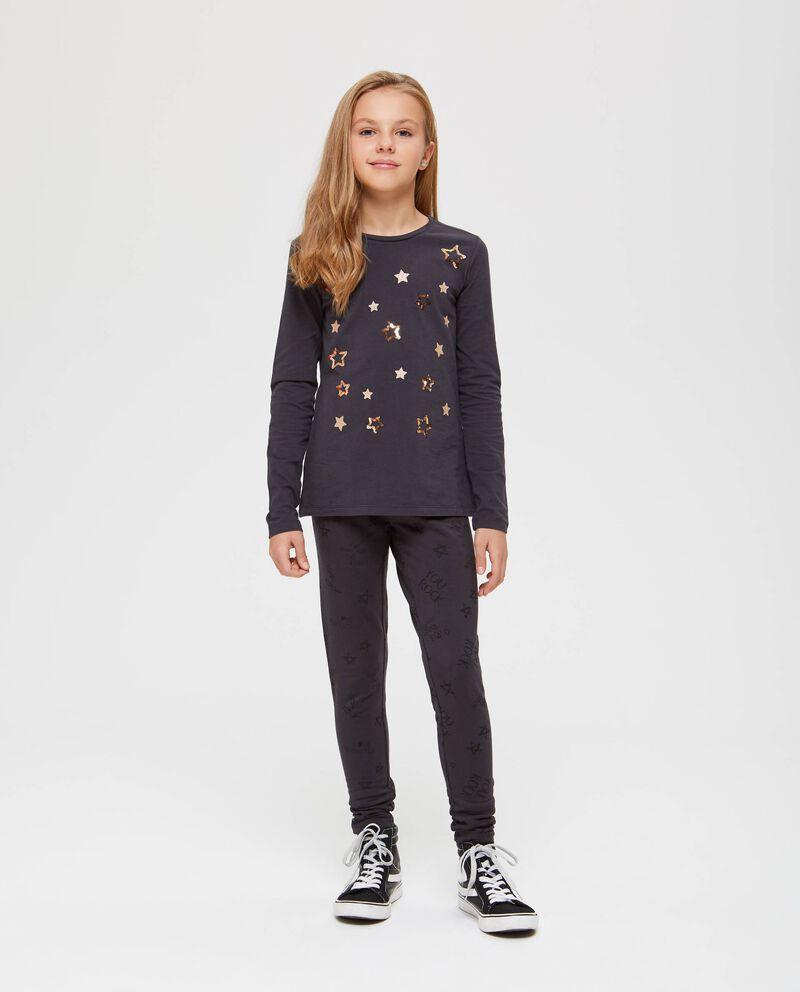 T-shirt maniche lunghe stelle glitterate