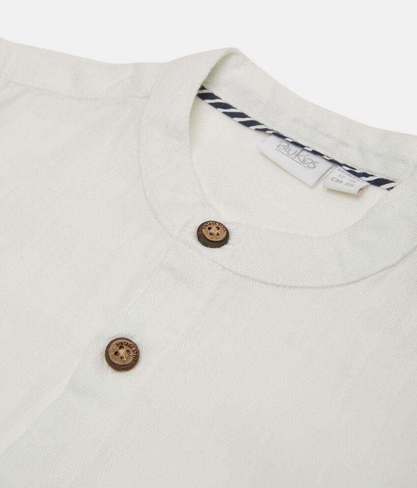 Camicia coreana neonato in cotone biologico misto lino double 2