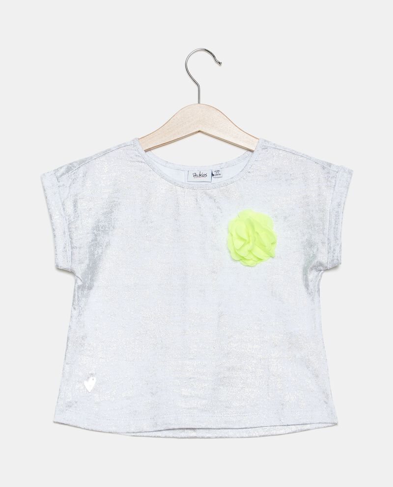 T-shirt spalmata in cotone organico bambina