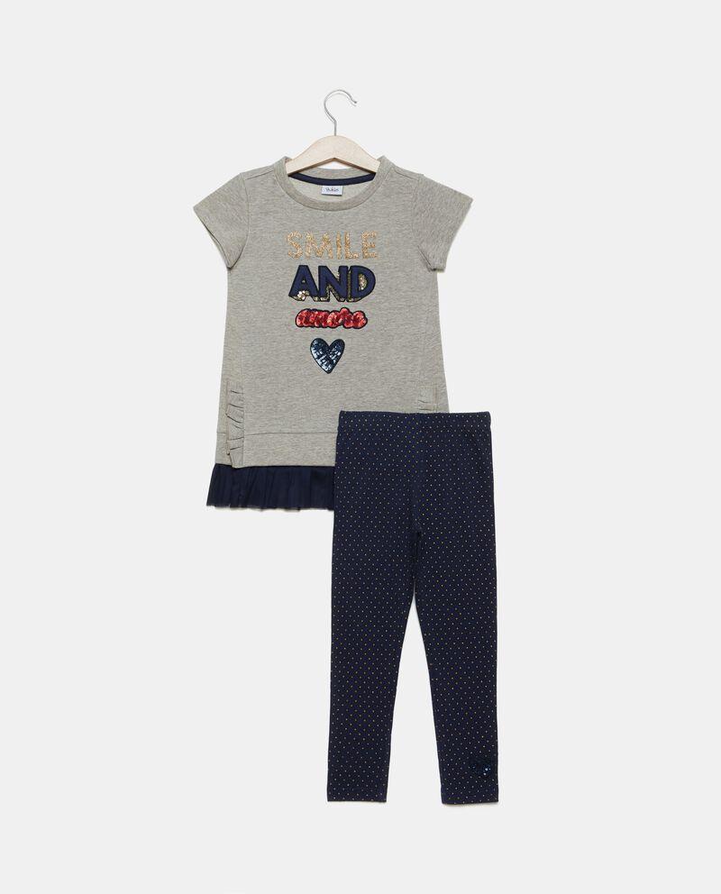 Set jogging felpa e leggings pois bambina