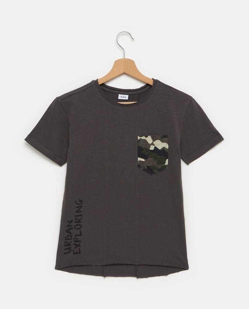 T-shirt grigia in puro cotone con taschino ragazzo