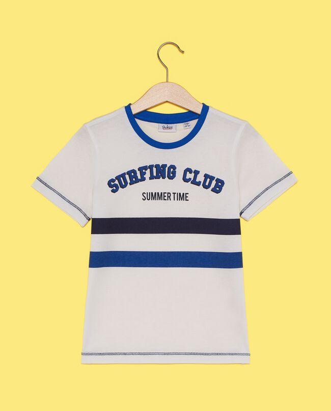 T-shirt in puro cotone con bande bambino