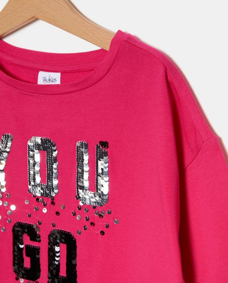 T-shirt con lettering in paillettes ragazza