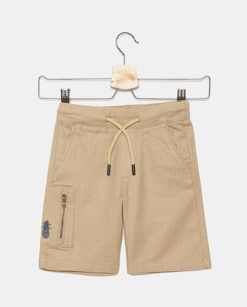 Shorts in misto lino con tasche bambino
