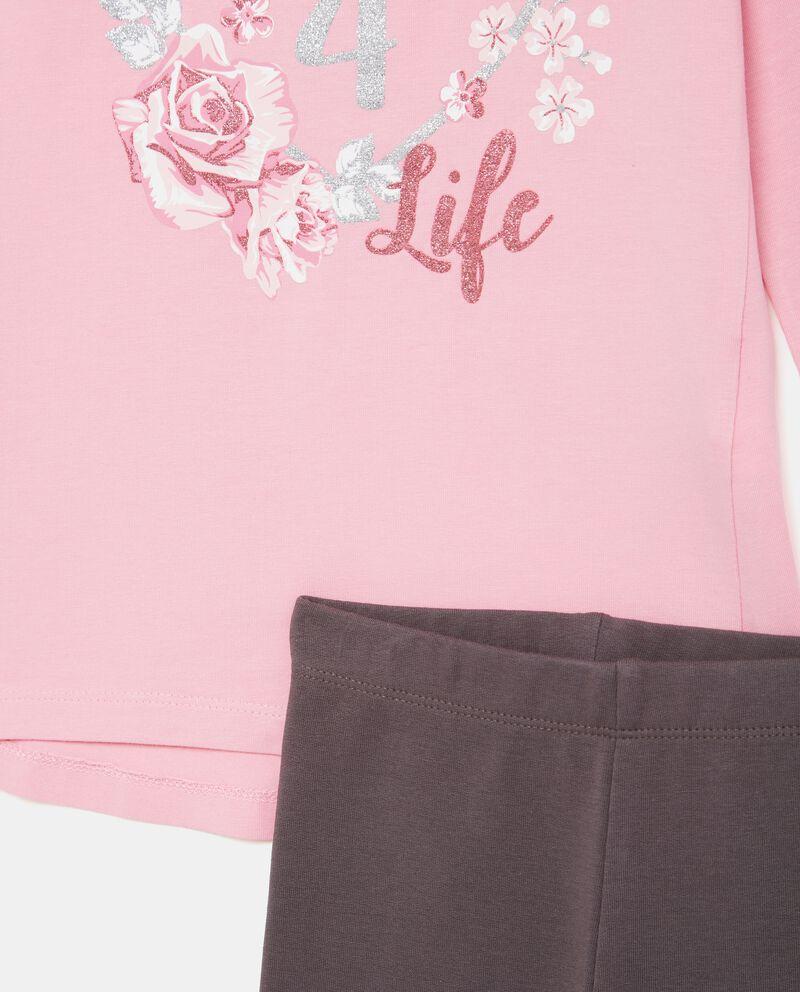 Set jogging maglia con stampa e leggings