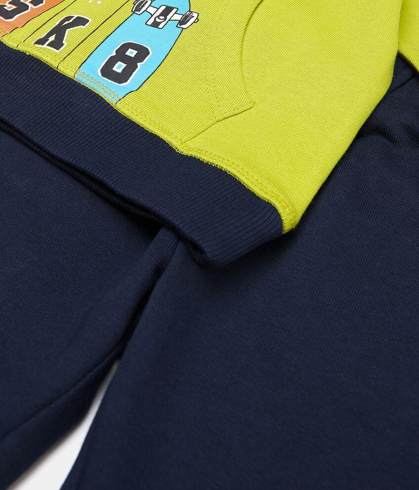 Set jogging con felpa e pantaloni di puro cotone neonato