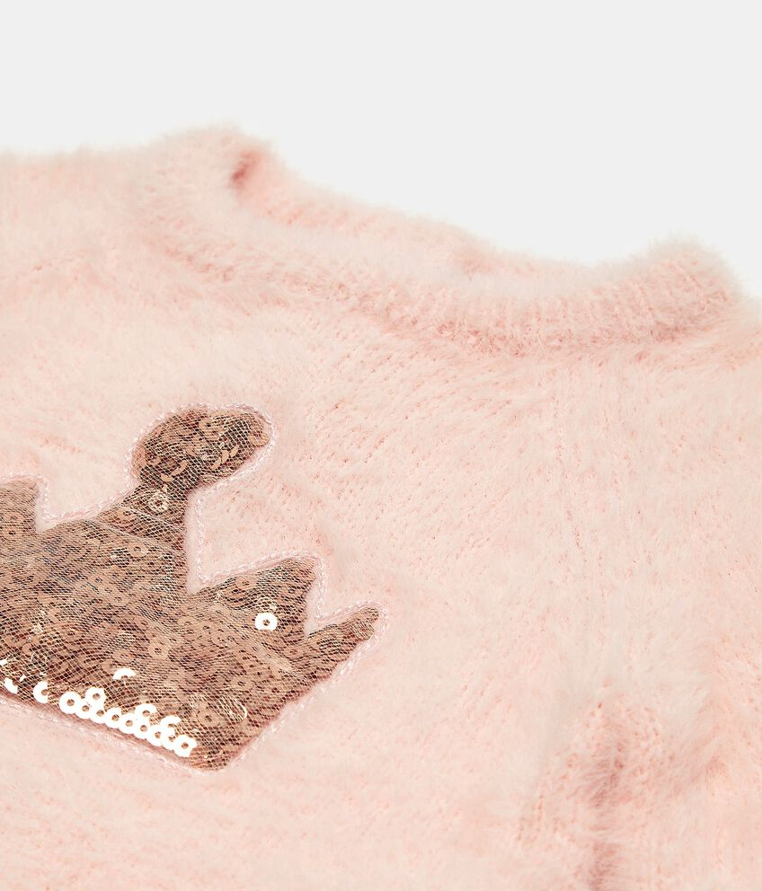 Maglioncino morbido con paillettes neonata