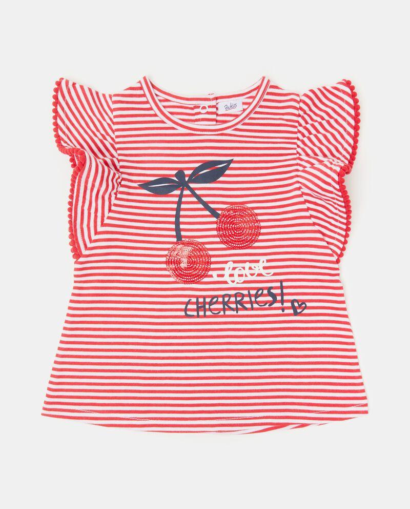 T-shirt in puro cotone con motivo a righe neonata