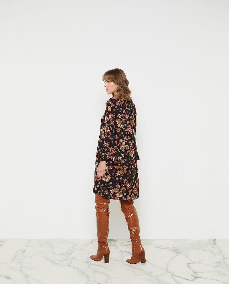 Vestito crepe corto a maniche lunghe svasate donna