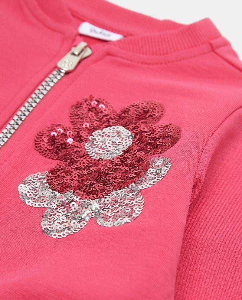 Felpa in cotone elasticizzato con fiori in paillettes neonata