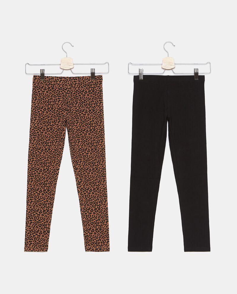 Bipack con 2 leggings di cotone biologico stretch ragazzadouble bordered 0