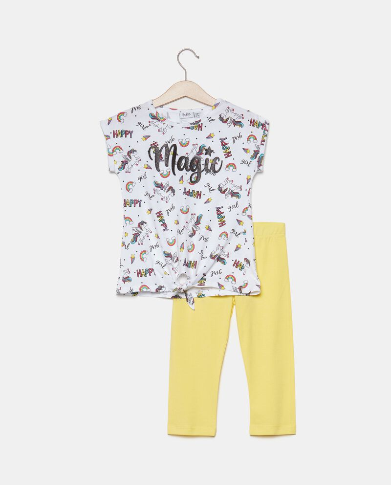 Completo t-shirt e leggings in cotone organico bambina