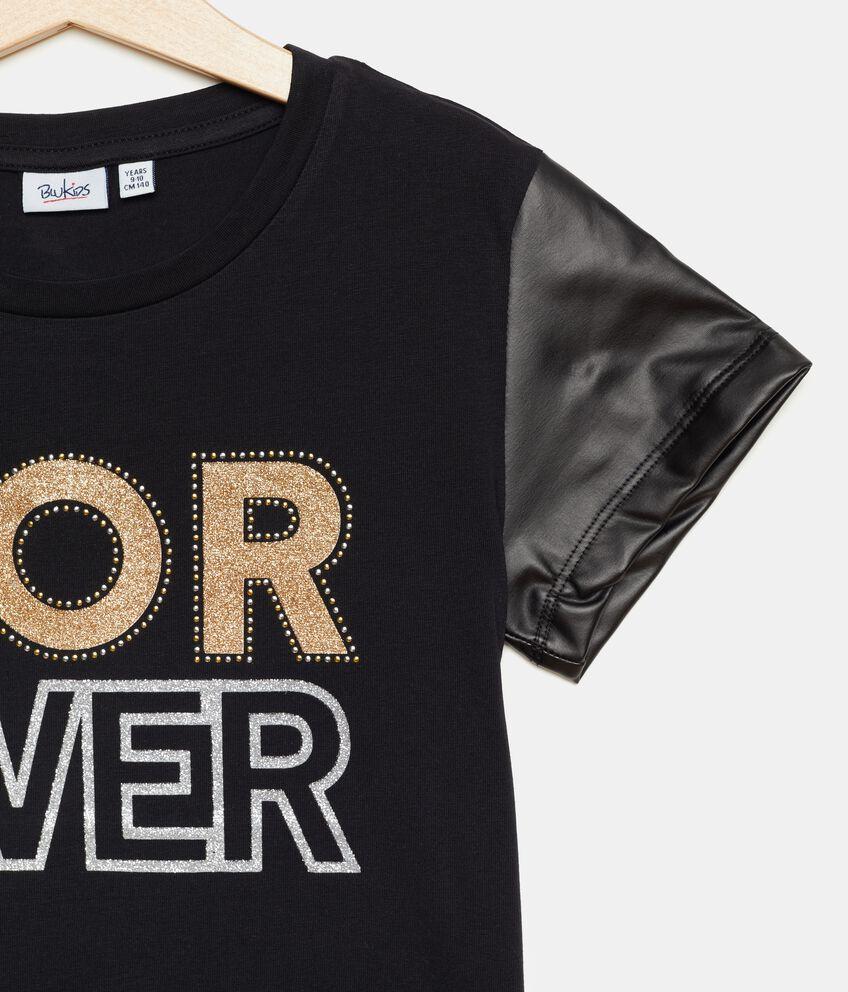 T-shirt con maniche in ecopelle ragazza